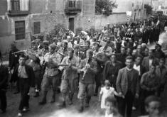 BÁGUENA, 1938. TROPAS ITALIANAS EN LA PROCESIÓN. CENTRO DE ESTUDIOS DEL JILOCA